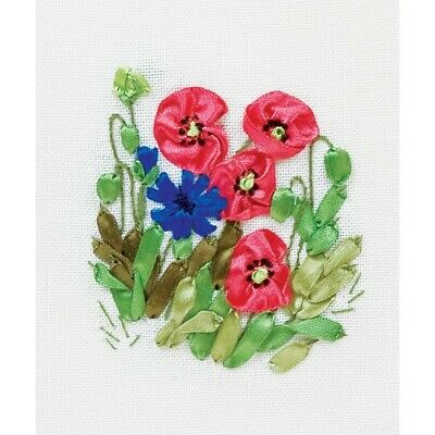 Poppies And Cornflowers Ribbon Embroidery Kit C-0939 By Panna