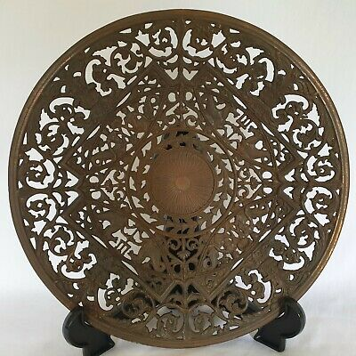 Antique Coalbrookdale Iron Dish/ Charger. Signed. Neoclassical Decoration. 29cm