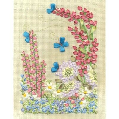 Butterfles And Lupins Counted Cross Stitch And Ribbon Embroidery Kit C-0997