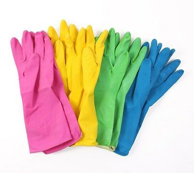 12 pairs Household Rubber Washing Up Cleaning Gloves - ALL COLOURS ALL SIZES!