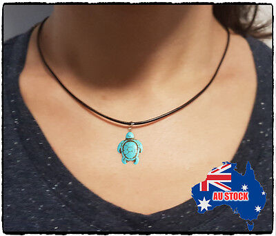 Turquoise Turtle Charm Pendant Choker Necklace with Black Cord Jewelry Gift