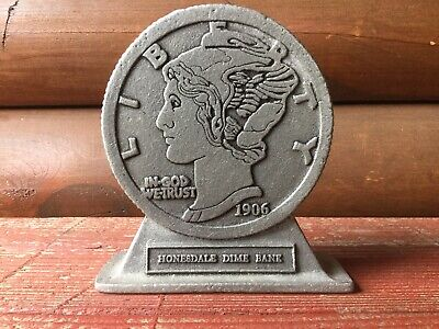 Vintage Cast Honesdale Dime Bank Pa. 1906 Mercury Still Bank
