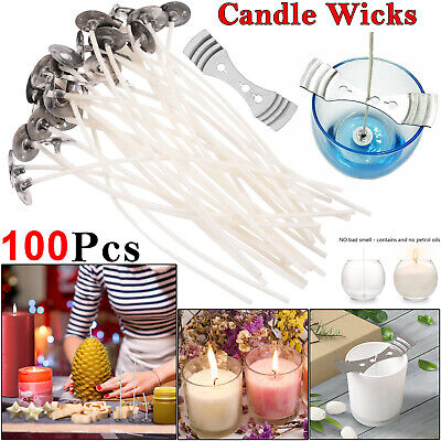 100 X Pre Waxed Wicks 15cm Long For Home Candle Making Cotton With Sustainers UK