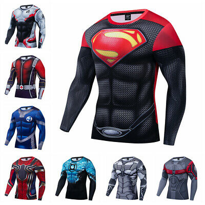 Men's Compression T-shirts Superman 3D Printed tights Workout Gym Tops