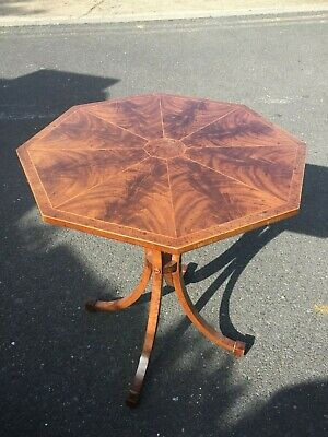 Fine Inlaid Octagonal Occasional Lamp End Side Table - Antique
