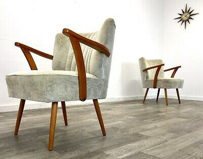 A Pair Of Art Deco Odeon style cocktail arm chair. Vintage mid-century