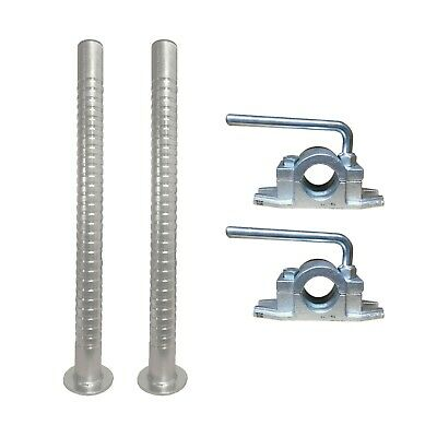 2 x 48mm Heavy Duty Ribbed Prop Stand with Cast Clamp 600mm Trailer Stabiliser