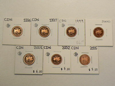 🍁 1996 to 2005 Canada Cents Lot of 7 Proof Coins #290