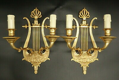 Large Pair Sconces, Lyre & Swan, Empire Style End 19Th - Bronze - French Antique