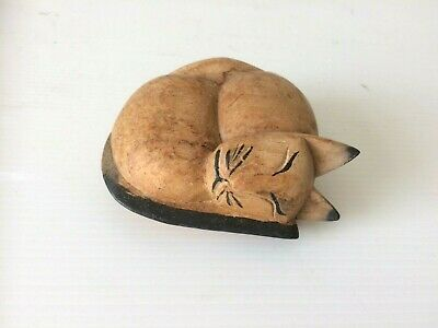Vintage Carved Wooden Sleeping Cat Figurine