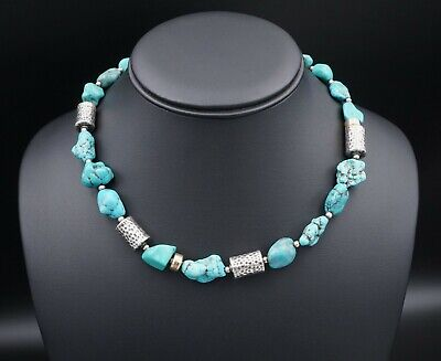 """NWOT Silpada Sterling Silver Chunky Turquoise Nugget Necklace 17"""" N0849 NS1507"""