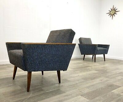 Pair Of Mid Century Vintage Lounge Armchairs Cocktail Chairs