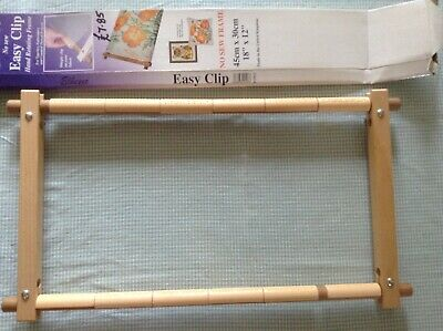 "Elbesee Easyclip embroidery frame, 18"" X 12"", wooden with tension clips, in box"