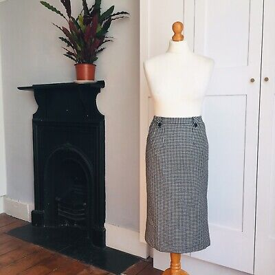 Vintage 70s Does 50s Black White Dogtooth Houndstooth Check Wool Pencil Skirt 8