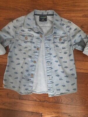 OshKosh Boys 2T Long Sleeve Shirt Button Down Toddler Reno's/Blue