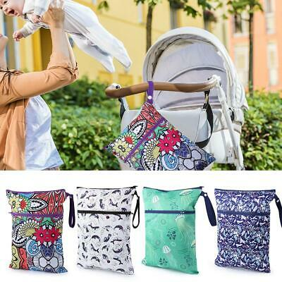 Waterproof Wet Dry Bag Baby Cloth Diaper Nappy Bag Reusable w/Two Zipper Pockets