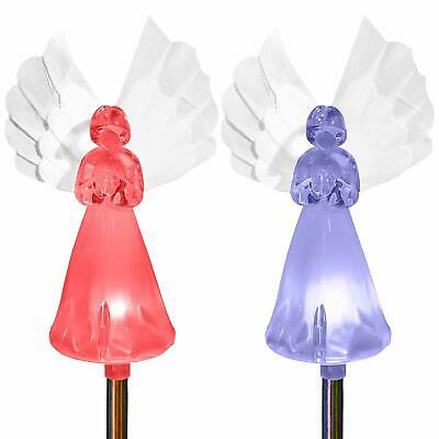 Garden Angel Solar Powered Color Changing Stake Lights Statue Fiber Wings For Ch