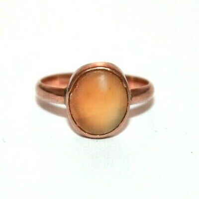 Antique Victorian 9 ct rose gold pink stone shell set ring size O