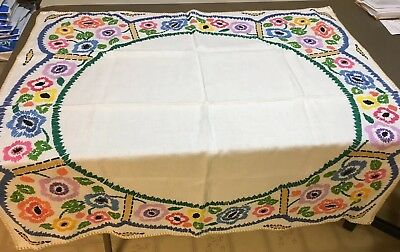 "VTG Flower Colorful Crewel Embroidery Tablecloth Linen Blend 40.5"" Sq.  I18 EUC"