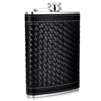 New Black Woven Leather Stainless Steel Hip Flask 8oz Bar Outdoor Sports Flasks