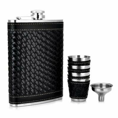 New Black Woven Leather Wrap Steel Hip Sets Gift Stainless Steel 4 cups + Funnel