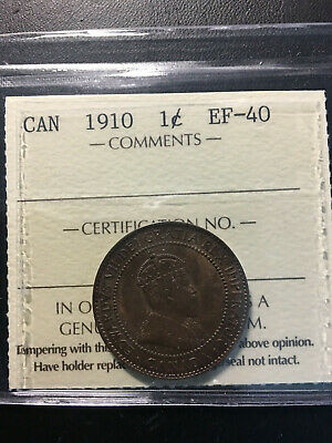 1910 Canada Large 1 Cent Coin - ICCS EF-40
