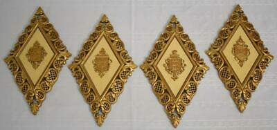 Set of 4 Vtg SYROCO Diamond Shaped Gold COAT OF ARMS Crests Wall Hanging Plaques