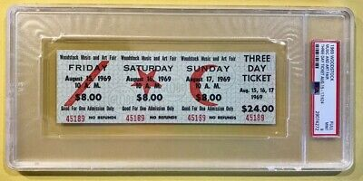 1969 WOODSTOCK Three Day Ticket ~ PSA 9 ~ UNUSED - Mint condition