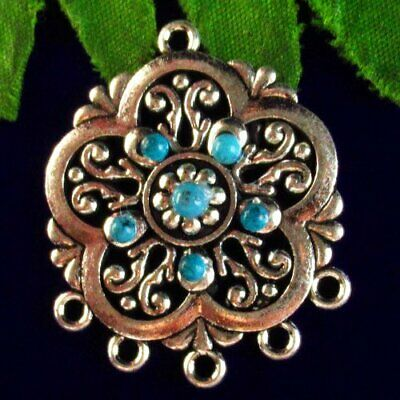 2pcs 32x4mm Carved Tibetan Silver Inlay Turquoise Flower Pendant Bead SD2019710