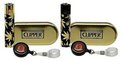 Clipper Full Metal Gold Leaves Collection Lighters with RPD Lighter Lasso