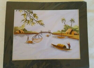 Vintage Vietnamese Hand Embroidered Silk Art Picture Fishing Village Scene