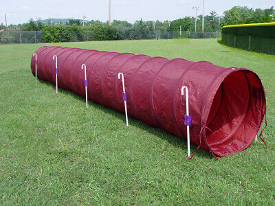 Dog Agility Tunnel with Stakes 14' long, 6 J-Metal Stakes, Burgundy)