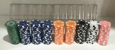NEW MULTI COLORED CLAY CHIPS LAS VEGAS POKER CLUB LOT OF 225 UNOPENED 2 Stands