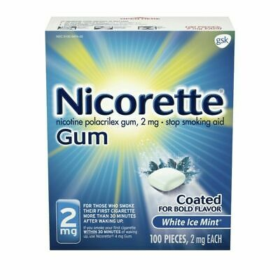 Nicorette OTC Stop Smoking Nicotine Gum, 2mg, 100ct - (775000) 05/2021