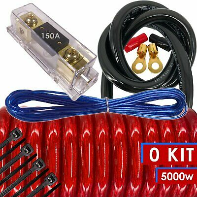 Amplifier Kits 0 Gauge Amp Install Wiring 1//0 Ga Pro Cables 5000W Audio Car Boat