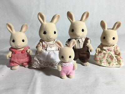 Calico critters/sylvanian families Periwinkle Bunny family Of 5 Rabbits
