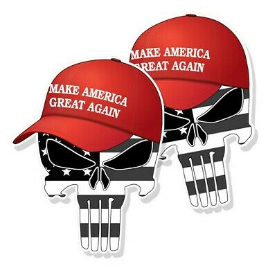 "TRUMP PUNISHER STICKERS Subdued American Flag MAGA Hat Decals 4"" tall 2-pack"