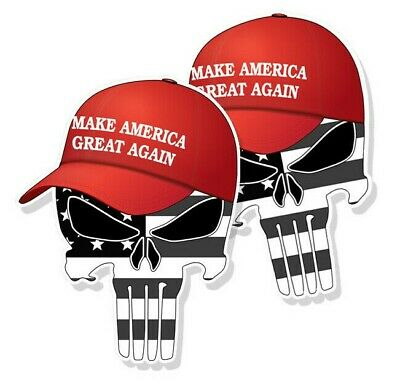"TRUMP PUNISHER STICKERS Subdued American Flag MAGA Hat Decals 3"" tall 2-pack"