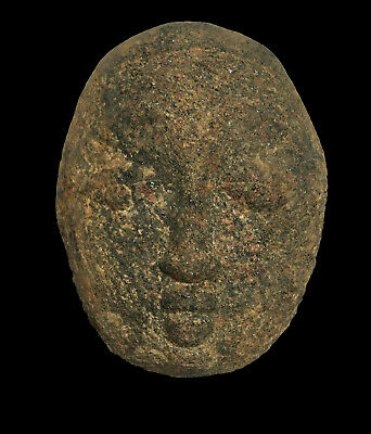 """Pre-Columbian Carved Stone Head Face Mask 4"""" x 5.5"""" 2044 Grams"""