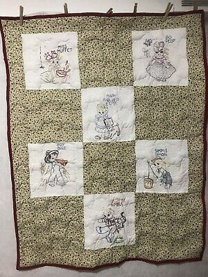 """Unique Rare Hand Embroidered Baby Quilt Colorful Nursery Rhyme. 33-1/2"""" X 43"""""""