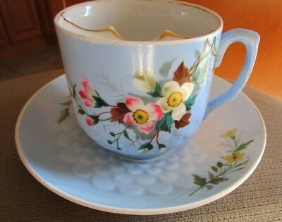 Antique Dresden Mustache Cup And Saucer Hand Painted Anemones  Germany