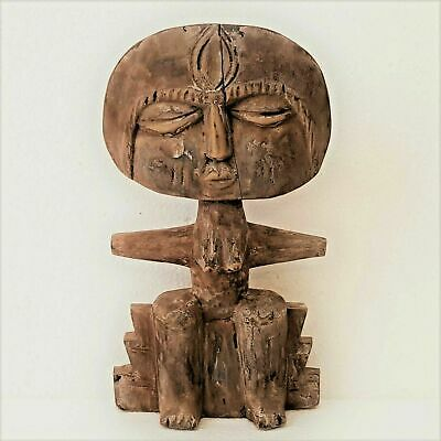 Antique African Ashanti Tribal Hand Carved Wood Akuaba Fertility Doll from Ghana