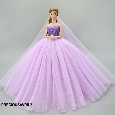 New Barbie doll clothes outfit princess wedding dress gown purple sequin veil
