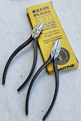 """Klein Tool Nos Lot Lineman Pliers 6"""" Wire Cutters Electrician Vtg Dykes Nippers"""