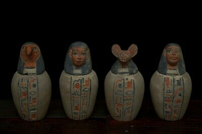 Rare EGYPT EGYPTIAN ANTIQUES STATUE Set of 4 CANOPIC JARS Carved STONE BC