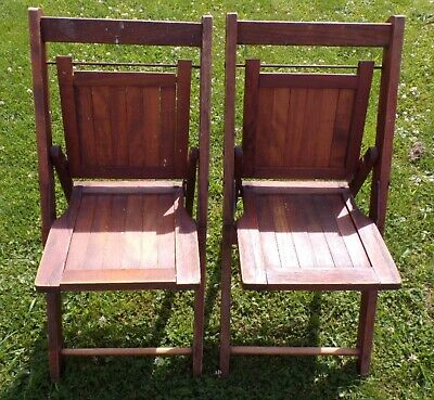 Vintage Children's Fold Up Wood Slatted Chairs