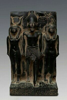RARE EGYPT EGYPTIAN STATUE Antiques OSIRIS and Nephthys and ISIS Black Stone BC