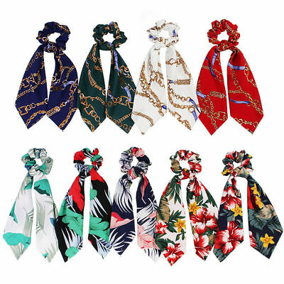 Boho Print Bow Elastic Hair Rope Ponytail Scarf Tie Scrunchies Ribbon Hair Bands