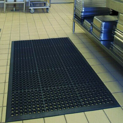 "Anti-Fatigue Rubber Floor Mats for Kitchen Restaurant Heavy Duty Black 36""X60"""