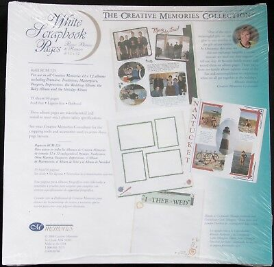Creative Memories 12x12 White Scrapbook Pages, Old Style 2000, 15 Sheets RCM-12S